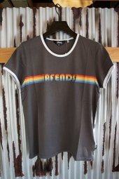 【LADY'S ITEM】 AFENDS Rainbow Standard Fit Ringer Tee (Chacl×Wht)