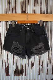 【LADY'S ITEM】 AFENDS Beat Tyler Denim Shorts (Stone Black)
