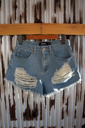 【LADY'S ITEM】 AFENDS Beat Tyler Denim Shorts (Stone Blue)