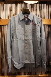 DEUS EX MACHINA SERVICE LS CHAMBRAY SHIRT (LIGHT INDIGO)