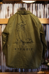 RIPNDIP PRAYING HANDS TWILL JACKET (OLIVE)