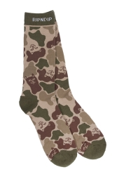 RIPNDIP NERM CAMO SOCKS (ARMY GREEN)