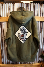SANTA CRUZ SCREAMING HAND BADGE PULLOVER HOOD (ARMY)
