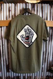 SANTA CRUZ SCREAMING HAND BADGE T-SHIRTS (ARMY)