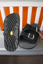 The Sandalman DOUBLE BUCKLE LEATHER SANDAL VIBRAM #1330 (BLACK)