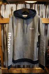 BRIXTON PALMER II HOOD FLEECE (HEATHER GREY/NAVY)