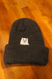 RIPNDIP Lord Nermal Ribbed Beanie (Charcoal)
