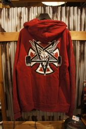 INDEPENDENT x THRASHER PENTAGRAM CROSS PULLOVER HOODIE (GARNET)