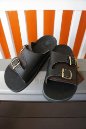 The Sandalman DOUBLE BUCKLE LEATHER SANDAL (BLACK)