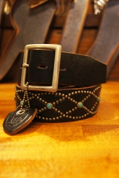 HTC BLACK #551 Turquoise Vintage Studs Belt (BLACK)