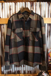 BRIXTON BOWERY L/S FLANNEL (BHEATHER GREY/CHARCOAL)