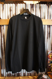 LOS ANGELES APPAREL 6.5OZ GARMENT DYE CREW NECK L/S TEE (BLACK)