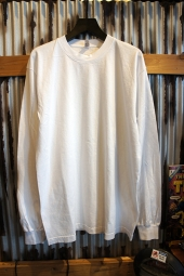 LOS ANGELES APPAREL 6.5OZ GARMENT DYE CREW NECK L/S TEE (WHITE)