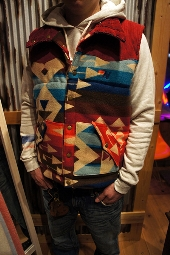 Aviator Nation Reversible Pendleton & Cord Vest Red