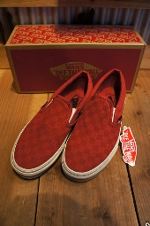 VANS CLASSIC SLIP-ON (WASHED)RED/CHK