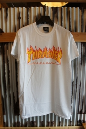 THRASHER MAGAZINE FLAME LOGO T-SHIRT (WHITE)