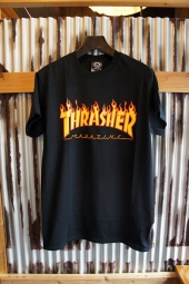 THRASHER MAGAZINE FLAME LOGO T-SHIRT (BLACK)