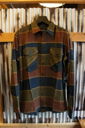 BRIXTON WELDON L/S FLANNEL SHIRT (OLIVE/BROWN)