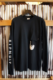 RIPNDIP FALLING FOR NERMAL LONG SLEEVE POCKET TEE (BLACK)