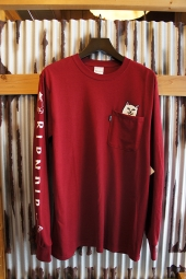 RIPNDIP LORD NERMAL LONG SLEEVE POCKET TEE (MAROON)